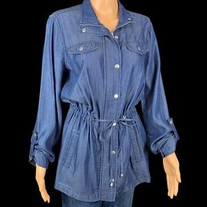 Baccini EUC Zip Snap Tie Front Blue Tunic Small